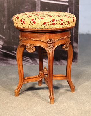 Carved, Adjustable Piano Stool with Brocade
