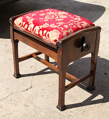 Adjustable, Mahogany Piano Stool with Storage