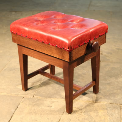 Adjustable, Concert Stool with Red Leather Upholstery