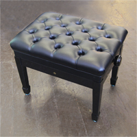 Wilh. Steinberg Adjustable, Faux Leather Piano Stool with Monogram