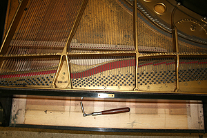 钢琴翻新 Removing the piano strings.