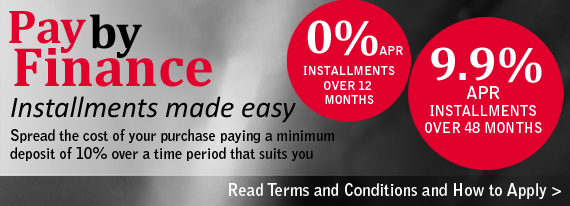 Pay By Finance. Installments made easy. Spread the cost of your purchase paying a minimum deposit of 10% over a time period that suits you. Ask in store for more details. Contact Steven Leeming for more information on 0113 244 8344 or 0777 560 3828