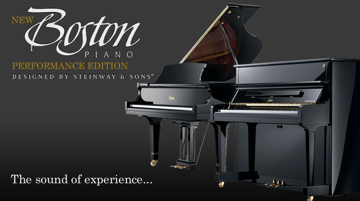 The New Boston Performance Edition Range of Pianos. Designed by Steinway And Sons.