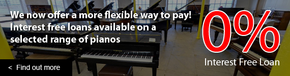 Interest Free Finance now available on a selected range of pianos in store. Loan available to UK residents over a 12 month or 18 month time period. All applicants must undergo an independent credit check to apply for an interest free loan.