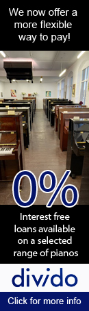 Interest Free Finance now available on a selected range of pianos in store. Loan available to UK residents over a 12 month or 18 month time period. All applicants must undergo an independent credit check to apply for an interest free loan