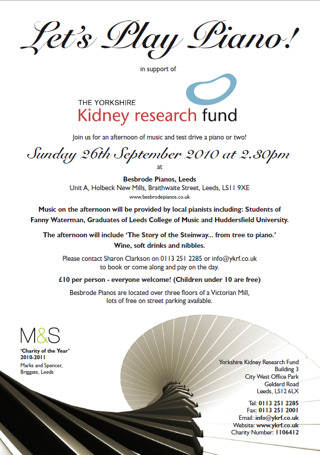 Let's Play Piano! In support of the Yorkshire Kidney Research Fund