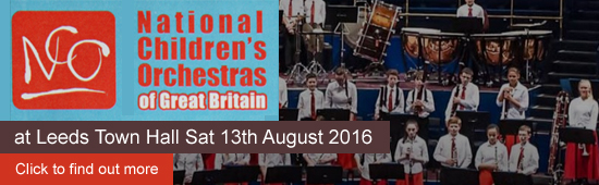 National Children's Orchestra. Open Rehearsal - Under 13 Orchestra at Leeds Town Hall Sat 13th August 2016 This rehearsal is a free event and open to the public Go behind the scenes with the UK�s best young musical talent at NCO�s Open Rehearsal! You�ll be treated to a sneak preview of Under 13 Orchestra�s Summer Concert. Music to make your imagination run wild, as you listen to the sounds of spine tingling skeletons and Russian troops!