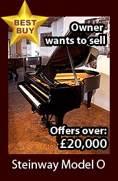 A 1952, Steinway Model O grand piano with a black case and spade legs. Piano has an eighty-eight note keyboard and a two-pedal lyre. Owner wants to sell and is now accepting offers over £20,000. This is a fabulous opportunity to acquire a discounted Hamburg Steinway Model O.
