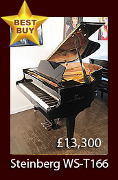 A 1999, Steinway Model A grand piano with a black case and spade legs