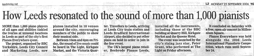 News Clipping - How Leeds resonated to the sound of more than 1,000 pianists